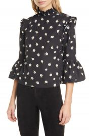 Alice   Olivia Henrietta Daisy Pattern Ruffled Cotton Boxy Blouse   Nordstrom at Nordstrom