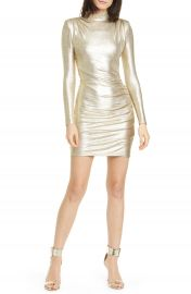 Alice   Olivia Hilary Metallic Long Sleeve Sheath Dress   Nordstrom at Nordstrom