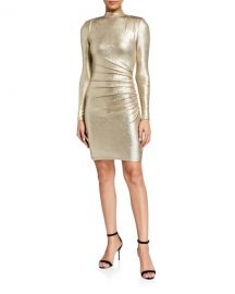 Alice   Olivia Hilary Ruched Mock-Neck Dress at Neiman Marcus