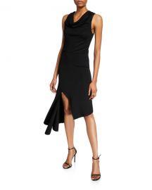 Alice   Olivia Hollis Cowl-Neck Cascade Dress at Neiman Marcus