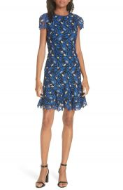 Alice   Olivia Imani Embroidered Cap Sleeve Fit  amp  Flare Dress   Nordstrom at Nordstrom