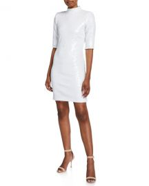 Alice   Olivia Inka Sequin Mock-Neck Elbow-Sleeve Dress w  Strong Shoulders at Neiman Marcus