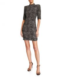 Alice   Olivia Inka Strong-Shoulder Mock-Neck Dress at Neiman Marcus
