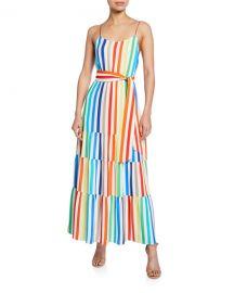 Alice   Olivia Janan Spaghetti Strap Midi Peasant Dress at Neiman Marcus