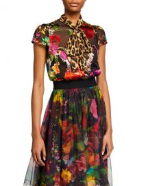 Alice   Olivia Jeannie Bow-Collar Cap-Sleeve Button-Down Top at Neiman Marcus