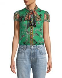 Alice   Olivia Jeannie Bow-Collar Cap-Sleeve Button-Front Blouse at Neiman Marcus