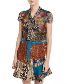Alice   Olivia Jeannie Bow-Collar Mixed-Print Button-Front Blouse at Neiman Marcus