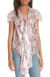 Alice   Olivia Jeannie Bow Collar Silk Blend Top at Nordstrom