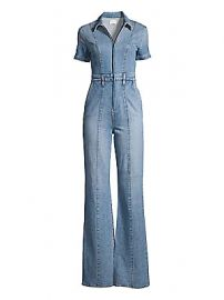 Alice   Olivia Jeans - Gorgeous Wide-Leg Denim Jumpsuit at Saks Fifth Avenue