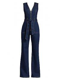 Alice   Olivia Jeans - Plunging V-Neck Denim Jumpsuit at Saks Fifth Avenue