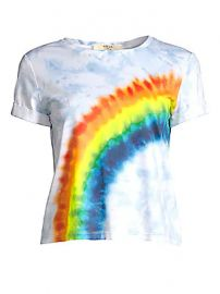 Alice   Olivia Jeans - Shira Roll Sleeve Rainbow Tee at Saks Fifth Avenue