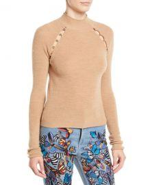 Alice   Olivia Jennifer Mock-Neck Raglan Slit Pullover at Neiman Marcus