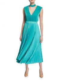 Alice   Olivia Joleen Pleated Midi Dress w  Removable Mock Neck at Neiman Marcus
