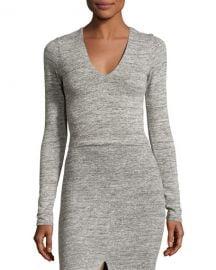 Alice   Olivia Jori V-Neck Long-Sleeve Crop Top  Gray at Neiman Marcus