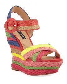 Alice   Olivia Josiey Rainbow Wedge Sandals at Neiman Marcus