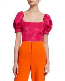 Alice   Olivia Joslyn Puff-Sleeve Cropped Top at Neiman Marcus