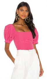 Alice   Olivia Joslyn Puff Sleeve Cropped Top in Wild Pink from Revolve com at Revolve