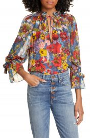 Alice   Olivia Julius Floral Print Raglan Sleeve Blouson Tunic   Nordstrom at Nordstrom