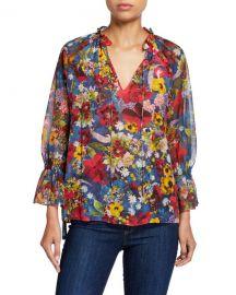 Alice   Olivia Julius Floral Raglan Blouson-Sleeve Tunic Top at Neiman Marcus