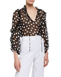 Alice   Olivia Julius Sheer Polka-Dot Ruffle-Sleeve Tunic Top at Neiman Marcus