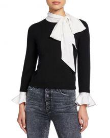 Alice   Olivia Justina Colorblock Tie-Neck Long-Sleeve Combo Sweater at Neiman Marcus