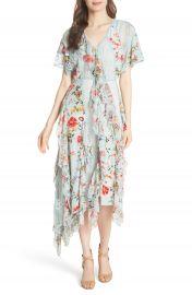 Alice   Olivia Kadence Ruffled Silk   Lace Midi Dress at Nordstrom