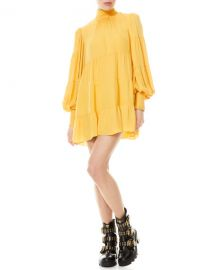 Alice   Olivia Karena Smocked Mock-Neck Babydoll Dress at Neiman Marcus