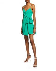 Alice   Olivia Katie Tie Wrap Mini Dress at Neiman Marcus