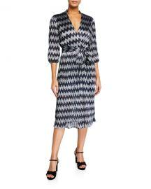 Alice   Olivia Katina Gathered Midi Dress at Neiman Marcus