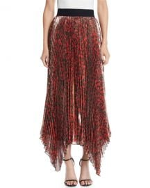 Alice   Olivia Katz Shimmery Leopard Pleated Maxi Skirt at Neiman Marcus