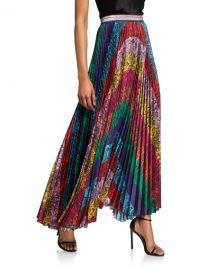 Alice   Olivia Katz Sunburst Pleated Maxi Skirt at Neiman Marcus