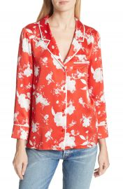 Alice   Olivia Keir Floral Silk Pajama Shirt at Nordstrom
