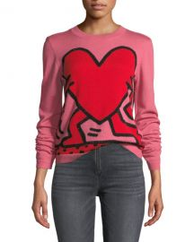 Alice   Olivia Keith Haring x Alice   Olivia Chia Relaxed Intarsia Crewneck Pullover Sweater at Neiman Marcus