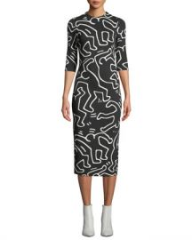 Alice   Olivia Keith Haring x Alice   Olivia Delora Fitted Crewneck Dress at Neiman Marcus