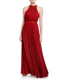 Alice   Olivia Kelissa Halter Sunburst Pleated Maxi Dress at Neiman Marcus