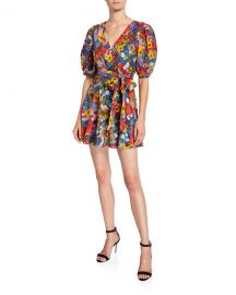 Alice   Olivia Kerri Floral Bishop-Sleeve Wrap Dress at Neiman Marcus