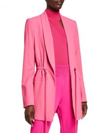 Alice   Olivia Kylie Easy Shawl-Collar Jacket with Drawstring Waist at Neiman Marcus