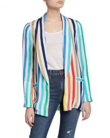 Alice   Olivia Kylie Striped Easy Shawl-Collar Jacket at Neiman Marcus