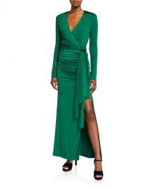 Alice   Olivia Kyra Deep V Drapey Dress at Neiman Marcus