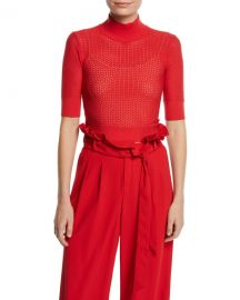 Alice   Olivia Lanie Pointelle High-Neck Short-Sleeve Pullover at Neiman Marcus