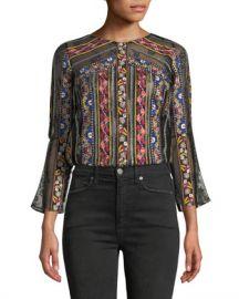 Alice   Olivia Larue Embroidered Slit-Sleeve Top at Neiman Marcus