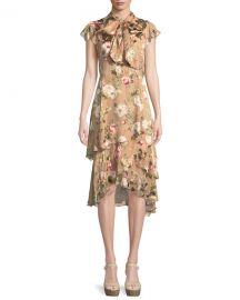 Alice   Olivia Lavenia Tiered Floral Midi Dress at Neiman Marcus