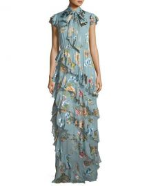 Alice   Olivia Leslie Tie-Neck Burnout Ruffled Silk-Blend Maxi Dress at Neiman Marcus