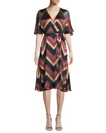 Alice   Olivia Lexa Chevron Stripe Midi Dress at Neiman Marcus