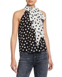 Alice   Olivia Liana Polka-Dot Bow-Neck Sleeveless Top at Neiman Marcus