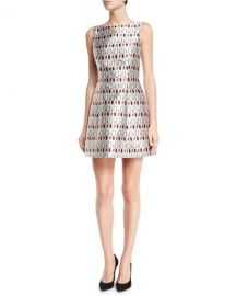 Alice   Olivia Lindsey Structured Cosmetics-Print Dress  Multicolor at Neiman Marcus