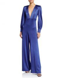 Alice   Olivia Lisa Satin Deep V-Neck Jumpsuit at Neiman Marcus