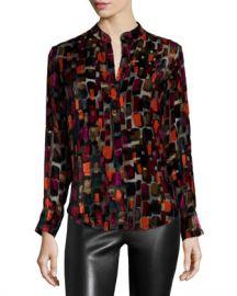 Alice   Olivia Long-Sleeve Velvet-Tile Blouse  Black Multicolor at Neiman Marcus