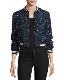 Alice   Olivia Lonnie Embellished Bomber Jacket  Blue at Neiman Marcus