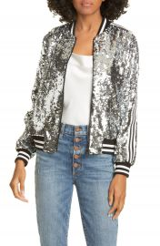 Alice   Olivia Lonnie Sequin Cropped Bomber Jacket   Nordstrom at Nordstrom